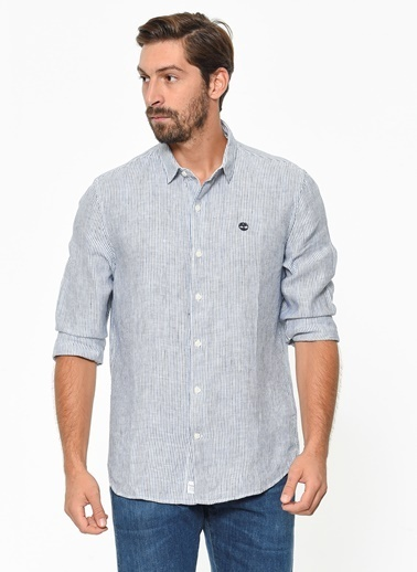 Timberland Ls Mill River Linen Stripe Shirt Slim Mavi